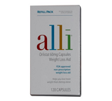 Alli Weight-Loss Aid, <br /> Orlistat 60mg Capsules Refill<br /> Pack
